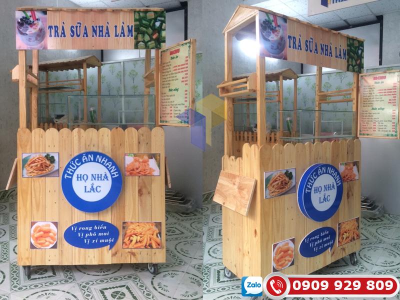 tủ bán trà sữa bằng gỗ