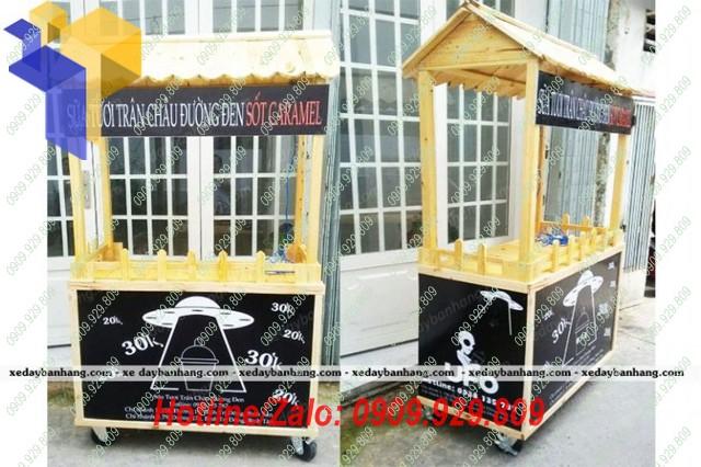 xe gỗ bán trà sữa trân châu