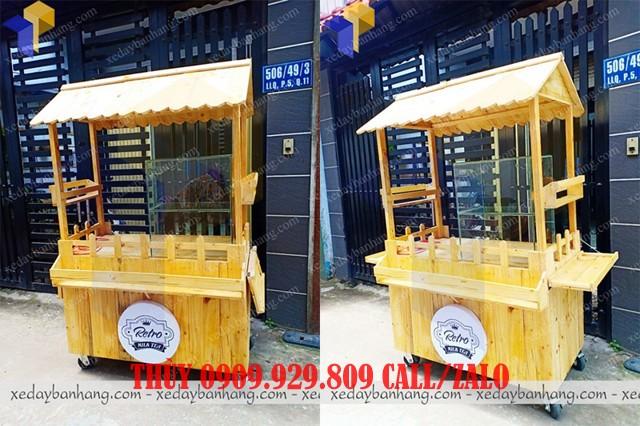 xe gỗ bán trà sữa lưu động