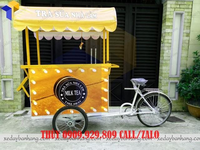 xe đạp bán trà sữa lưu động
